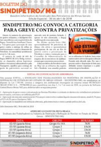 Sindipetro/MG convoca categoria para greve contra privatizações
