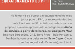 "Sindipetro/MG promove palestra ""Alternativas ao Equacionamento do PP-1"""